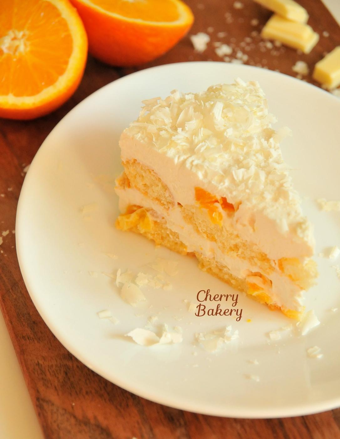 Сочна бишкотена торта с портокали от Cherry Bakery
